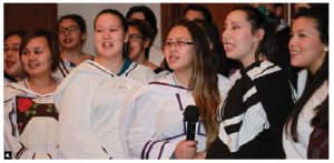Eleonore Wnendt, wife of German Ambassador Werner Wnendt, with the International Women's Club of Ottawa, hosted an authentic evening of Inuit culture featuring dance, music, throat-singing and northern sports performed by 30 young students from Nunavut Sivuniksavut school. (Photo: Ülle Baum)