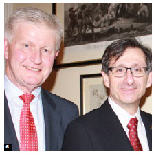 British High Commissioner Howard Drake, left, and his wife, Gillian (not shown), hosted a reception at Earnscliffe for the newly elected Canadian MPs as part of a two-day event organized by the initiative for parliamentary and diplomatic engagement at Carleton University. Drake is shown with André Plourde, dean of Carleton's faculty of public affairs. (Photo: Ülle Baum)