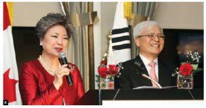 2. The Canada Korea Society held its annual general meeting and dinner at the Ottawa Hunt and Golf Club. Society president Young Hae Lee introduced Korean Ambassador DaeShik Jo. (Photo: Sam Garcia)