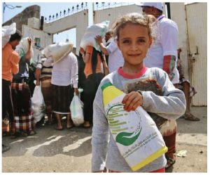 Aid is being distributed by the King Salman Humanitarian Aid and Relief Centre to camps in Yemen.  (Photo: Saudi Press Agency)