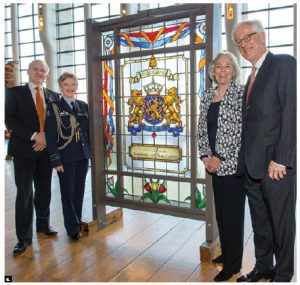 The King's Day reception at the Grand Hall at the Canadian Museum of History, hosted by Netherlands Ambassador Cees Kole, celebrated the official birthday of His Majesty Willem-Alexander. At the event, a stained glass window by artist Theo Lubbers was presented to museum president Mark O'Neill. At left, Netherlands defence attaché Christa Oppers-Beumer and her husband, Peer Oppers; at right Ambassador Kole and his wife, Saskia Kole-Jordans. (Photo: Garth Gullekson/Embassy of the Netherlands)