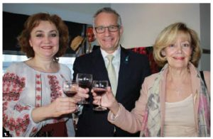 Moldovan Ambassador Ala Beleavschi celebrated Moldova's 25th anniversary of independence at Santé Restaurant. From left: Beleavschi, MP Ed Fast and Senator Raynell Andreychuk.