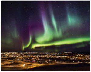 The Northern Lights shine over the Alftanes-peninsula close to Reykjavik. (Photo: Ragnar Th. Sigurdsson)