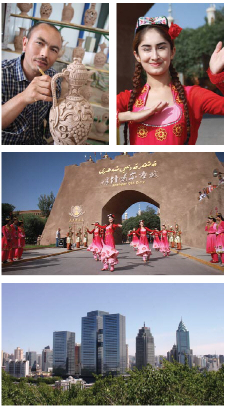 From top left to bottom: Master potter Kurban Turgun brings an old Uyghur tradition alive in a recently opened co-op factory. • A dancer in brightly coloured traditional  dress and hand-embroidered Uyghur flower hat performs for tourists visiting Kashgar. • A Kashgar welcoming ceremony featured dancers in ethnic dress in front of the gates of the old city. • Urumqui, the capital of Xinjiang, is home to a large high-tech industrial development zone. The city hosted the 5th annual China-Eurasia EXPO in September. (Photos: Ülle Baum)