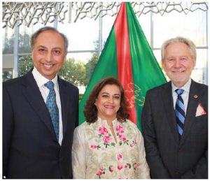 Mahmoud Eboo, the Aga Khan's resident representative, and his wife, Karima Eboo, hosted a reception in the atrium of their building on Sussex Drive. The Eboos were joined by Senator Peter Harder, right, who spoke at the reception. (Photo: Ülle Baum)