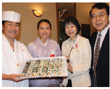 The Japanese embassy participated in Rockcliffe's 90th anniversary celebration. From left, chef Ichiro Fujii, his wife Ayumi Fujii, Etsuko Monji and Japanese Ambassador Kenjiro Monji. (Photo: Ülle Baum)