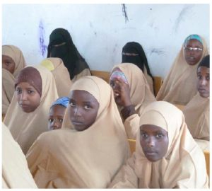 These Somali refugee girls are at a school in Kharaz camp, Lahj governorate.