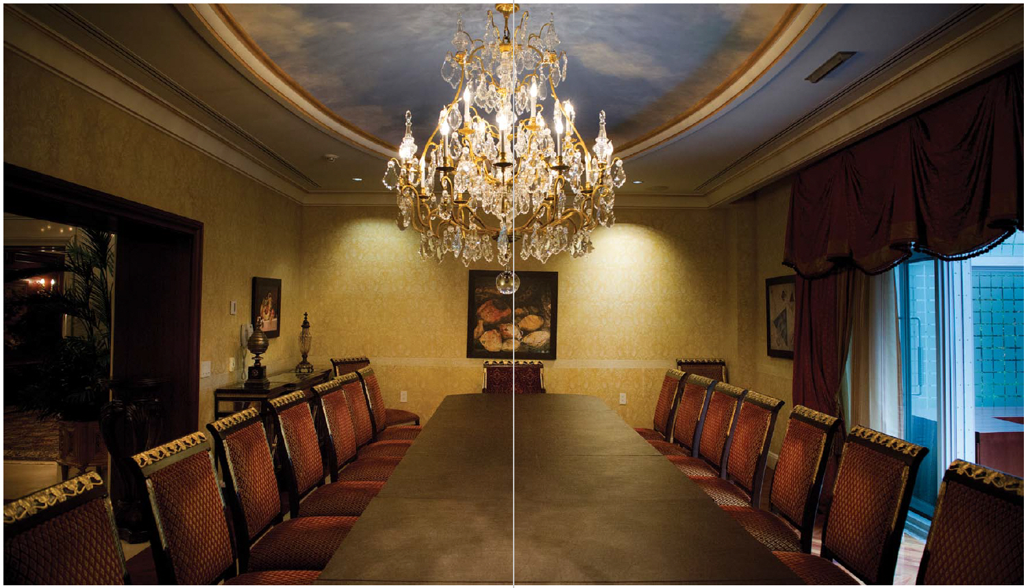The long, narrow dining room seats 20 in its gold-topped chairs. When the ambassador hosts bigger dinners, he holds them at round tables set around the swimming pool with buffet lines on either side of the room. (Photo: Ashley Fraser)