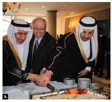 To mark the national day of Saudi Arabia, Ambassador Naif Bin Bandir Alsudairy, right, hosted a reception at his residence. Dr. Abdullah al Rabeeah, special adviser to the King and supervisor general of the King Salman Humanitarian Aid Relief Centre, left, helped cut the cake with Senate Speaker George Furey, centre. (Photo: Ülle Baum)