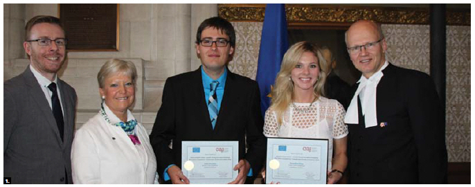 House of Commons Speaker Geoff Regan and EU Ambassador Marie-Anne Coninsx hosted an awards ceremony for the EU-Canada Young Journalist Fellowships on Parliament Hill. From left: Nick Taylor-Vaisey, president of the Canadian Association of Journalists, Coninsx, winners Julien Beaulieu and Genevieve Zingg, and Regan. Not shown is third winner, Philippe-Vincent Foisy. (Photo by Ülle Baum)