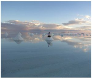 Uyuni Salt Lake is the world's largest salt flat, stretching over an area of 10,000 square kilometres at 3,600 metres above sea level. The lake is formed by a few metres of salt crust that cover an area containing more than 70 per cent of the world's lithium reserves. (Photo: Bolivian ministry of tourism)