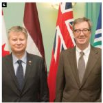 Latvian Ambassador Kãrlis Eihenbaums paid a visit to Mayor Jim Watson, right. (Photo: City of Ottawa)