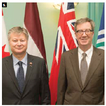 Latvian Ambassador Kãrlis Eihenbaums paid a visit to Mayor Jim Watson, right. (Photo: City of Ottawa)