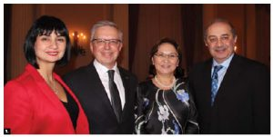Kazakh Ambassador Konstantin Zhigalov and his wife, Indira Zhigalova, hosted a reception for the 25th anniversary of Kazakhstan's independence day at the Fairmont Château Laurier Hotel. From left, Maria Yeganian, Zhigalov, Zhigalova and Armenian Ambassador Armen Yeganian. (Photo: Ülle Baum)