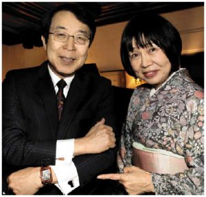 Japanese Ambassador Kenjiro Monjii and his wife, Etsuko, hosted a chamber concert followed by a buffet dinner at their residence as a fundraiser in support of the Friends of the National Arts Centre Orchestra. Here, the ambassador is showing off his instrument cufflinks. (Lois Siegel)