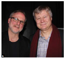 The launch for the 7th edition of Bright Nights: The Baltic Nordic Film Festival took place at Arts Court Theatre. Tom McSorley, left, executive director of the Canadian Film Institute, and Latvian Ambassador Karlis Eihenbaum attended. (Photo: Ülle Baum)