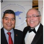 Venezuelan Ambassador Wilmer Omar Barrientos Fernandez, who is on the executive of the Ottawa Diplomatic Association, attended the ball. He's seen here with fellow guest, Senate Speaker George Furey. (Photo: Ülle Baum)