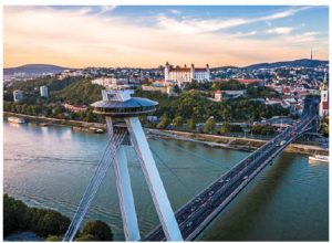 The UFO-style observation deck in Bratislava offers great views of the old town with its castle as the central attraction. (Photo: Department of Tourism of the Ministry of Transport and Construction of the Slovak Republic)