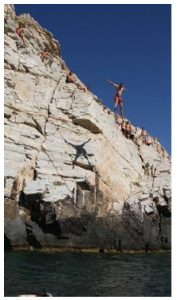 Cliff diving in Santorini is considered on the safe side, and good for amateurs. (Photo: compliments of Bernhard Warner)