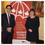 The embassy of Kosovo, with the Canada-Kosovo parliamentary friendship group, organized an event to commemorate the 18th anniversary of Kosovo refugees arriving in Canada. Kosovo Ambassador Lulzim Hiseni, left, and MP Anita Vandenbeld, attended. (Photo: Ülle Baum)