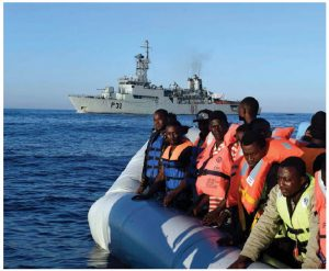 This Irish naval ship was dispatched to the Mediterranean as part of the EU's ongoing migrant rescue efforts. To stem the flow, the EU and its members need to accelerate programs to give real work to millions of jobless Africans. Funds for roads, railways, bridges and schools would be a good start. (Photo: IRISH DEFENCE FORCES)