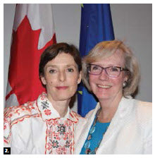 Estonian Ambassador Gita Kalmet (left) stands with Alexandra Bugailiskis, assistant deputy minister for Europe at Global Affairs Canada, at a reception hosted by the Estonian embassy at the Canadian Museum of Nature to mark Estonia's presidency of the Council of the European Union. The event included an exhibition by Estonian fashion designer Anu Hint. (Photo: Ülle Baum)