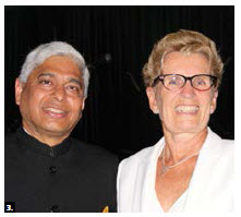 Indian High Commissioner Vikas Swarup hosted a national day reception at the Delta Hotel. He's shown here with Ontario Premier Kathleen Wynne. (Photo: Ülle Baum)
