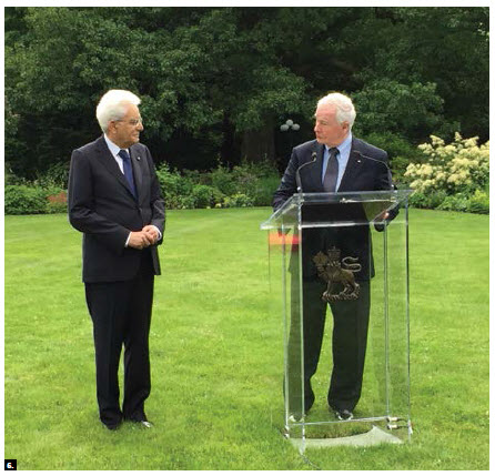 Former governor general David Johnston welcomed Italian President Sergio Mattarella to Rideau Hall during the president's state visit to Canada. (Photo: Ülle Baum)