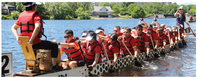 The Chinese embassy's team, known as the Polar Pandas, participated in the Ottawa Dragon Boat Festival at Mooney's Bay. (Photo: Ülle Baum)