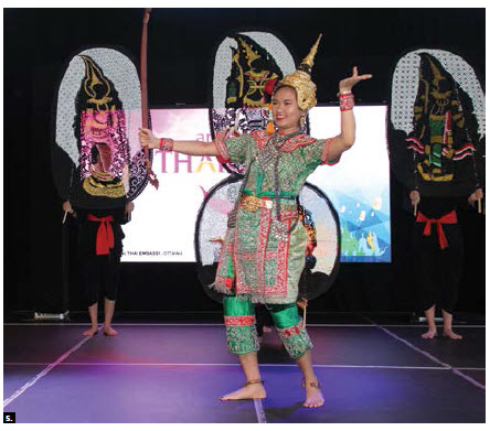 """Thai Ambassador Vijavat Isarabhakdi and his wife, Wannipa Isarabhakdi, hosted the """"amazing Thailand festival"""" at Lansdowne Park's Horticulture Building as part of the Ottawa Welcomes the World Canada 150 initiative. This dancer in traditional dress was part of a cultural performance. (Photo: Ülle Baum)"""