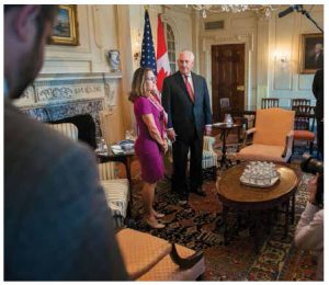 U.S. Secretary of State Rex Tillerson and Canadian Foreign Minister Chrystia Freeland addressed reporters after a bilateral meeting on the occasion of the kickoff of NAFTA renegotiations. (Photo: US Department of State)