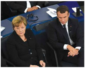 French President Emmanuel Macron, left, and German Chancellor Angela Merkel, right, take part in the G7 meeting in Taormina, Italy. Merkel will need Macron in 2018 as an EU ally. (Photo: © European Union , 2017 )