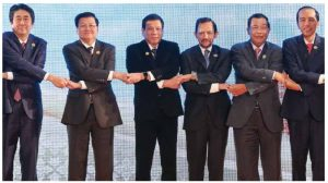 President Rodrigo R. Duterte, third from left, shown here with other Asian heads of state on the second day of the ASEAN Summit in Laos in 2016, hosted the summit in 2017. U.S. President Donald Trump offered to host talks about tensions in the South China Sea. His offer wasn't accepted. (Photo: Generalitat de Catalunya)