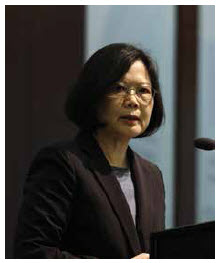 """Cross-strait relations between China and Taiwan have been chillier since the election of Tsai Ing-wen, pictured above. She refuses to acknowledge the """"1992 consensus,"""" which states that there is only one China and both sides are free to interpret what that means.  (Photo: Center for Strategic & International Studies)"""