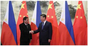 Since taking office in June 2016, Philippines President Rodrigo Duterte has sought to mend relations with China. He's shown here, at left, with Chinese President Xi Jinping. (Photo: King Rodriguez of Philippine Presidential Department)