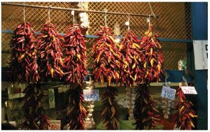 """A stall at the """"Great Market Hall"""" in downtown Budapest, selling the peppers used to make Hungary's world-famous spice, paprika."""