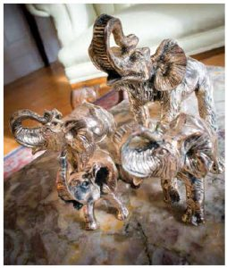 These playful elephants, made of silver, were a gift to the Ünal family. (Photo: Ashley Fraser)