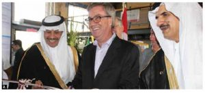 Saudi Arabia's national day took place at Lansdowne Park. From left: Ambassador Naif Alsudairy, Ottawa Mayor Jim Watson and Abdulaziz bin Salamah, adviser to the Saudi minister of culture and information. (Photo: Ülle Baum)