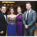 At the ball, from left, Costa Rican Ambassador Roberto Dormond Cantu, Honduran Ambassador Sofia Cerrato, Jennifer Wyatt, TIPES executive director, and the ball's emcee, Brendan McKeigan. (Photo: Sam Garcia)
