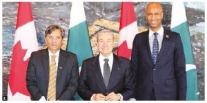 Pakistani Commerce Minister Pervaiz Malik, Canadian Trade Minister François-Philippe Champagne and Immigration Minister Ahmed Hussen met for trade talks in February. (Photo: Pakistani High Commission)