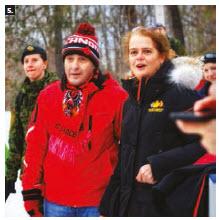 Austrian Ambassador Stefan Pehringer (left) took part in Gov. Gen. Julie Payette's (right) winter celebration at Rideau Hall, where he introduced Canadians to the sport of Eisstockschiessen. (Photo: Myka Burke)