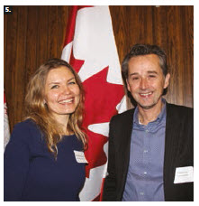 A half-day workshop on the European Union and Russia, featuring European, Russian and Canadian experts, took place at Carleton University. From left: Tatiana Romanova of St. Petersburg State University and Tom Casier of the University of Kent and the Brussels School of International Studies. (Photo: Ülle Baum)