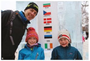 This sculpture at Confederation Park was made from 46 blocks of ice and was presented by the delegation of the European Union to mark 40 years of Winterlude. Canadian-Estonian Arno Türk stands next to it with his children, Lucy and Arthur. (Photo: Ülle Baum)