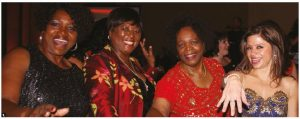 The Ottawa Diplomatic Association's annual Diplomatic Ball took place at the Westin Hotel. From left: Eula Anyiwo, South African High Commissioner Sibongiseni Yvonne Dlamini-Mntambo, Zimbabwean High Commissioner Florence Zano Chideya and Honduran Ambassador Sofia Cerrato on the dance floor. (Photo: Ülle Baum)