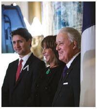 NAFTA was another Mulroney accomplishment. He's now working with Trudeau (pictured here with Mulroney's wife, Mila) to secure a new deal. (Photo: Prime Minister's Office)