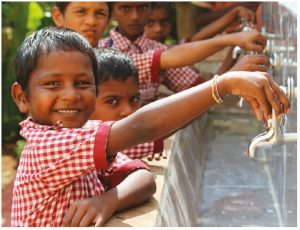 At Government Higher Primary School in Puchhaldini Village in Raichur, India, children practise handwashing every day. (Photo: wateraid, ishita rampal)