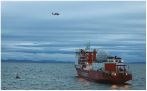 Xue Long, a Chinese icebreaker, explores waters 15 nautical miles from Nome, Alaska, in 2017. China's Arctic policy involves more than just the Northern Sea Route — it reaches right across North America, as well. (Photo: U.S. Coast Guard photo)