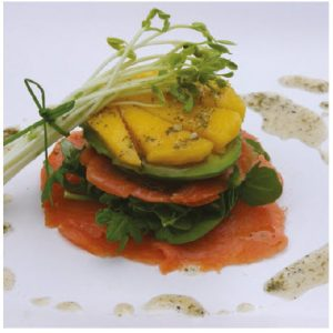 Smoked Salmon Crispy Stacks with Avocado and Mango (Photo: Larry Dickenson)