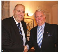 Israeli Ambassador Nimrod Barkan, left, hosted a Music to Dine For dinner for the Friends of the National Arts Centre Orchestra. He's shown with Friends' president, Albert Benoit. (Photo: Ülle Baum)