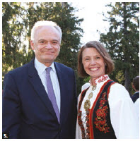 On the occasion of Norway's national day, Norwegian Ambassador Anne Ovind and her husband, Tom, hosted a garden reception at their residence. From left: Peter Boehm, deputy minister of foreign affairs, and Ovind. (Photo: Ülle Baum)